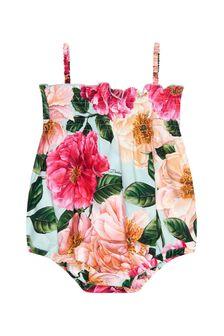 Dolce & Gabbana Baby Girls Pink Cotton Romper