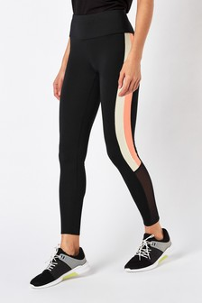 Black/Yellow Colourblock Technical Leggings