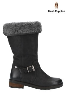 Hush Puppies Black Bonnie Mid Boots