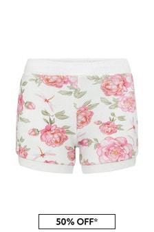 Baby Girls White Cotton Shorts