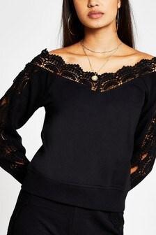 River Island Black Scallop Lace Bardot Sweater