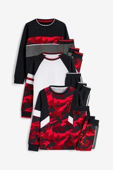 Black/Red Camouflage 3 Pack Pyjamas (3-16yrs)