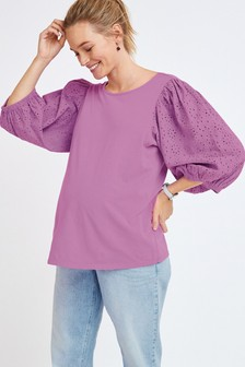 Lilac Maternity Broderie Puff Sleeve Top