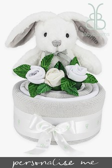 Babyblooms Grey Blanket Cake with Personalised Baby Bunny Soft Toy Gift