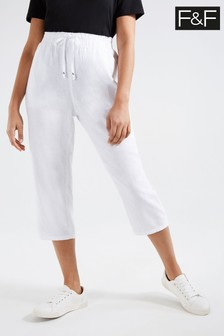 F&F White Epp Linen Cropped Trousers