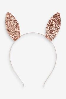 Rose Gold Glitter Bunny Ears Headband
