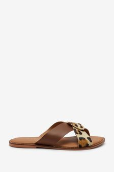 Animal/Tan Extra Wide Fit Forever Comfort® Cross Over Mule Sandals