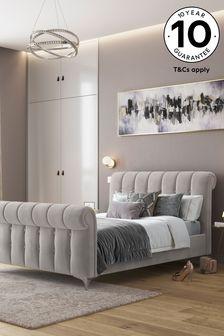 Opulent Velvet Light Grey Hargrave Sleigh Bed