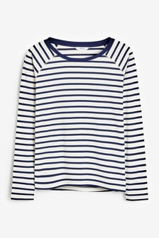 Navy/White Stripe Raglan Long Sleeve Top