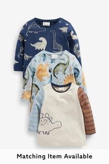 Blue 3 Pack Dino Long Sleeve T-Shirts (0mths-3yrs)
