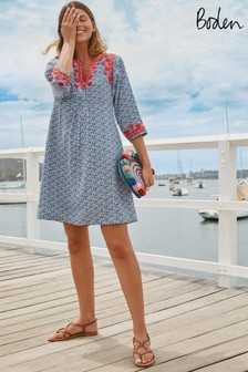 Boden Blue Embroidered Linen Dress