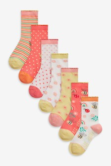 Bee/Floral 7 Pack Ankle Socks