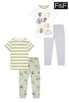 F&F Roarsome Wake Up Dino 2 Pack Pyjamas