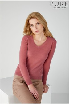 Pure Collection Pink Cashmere Slim Fit V-Neck Sweater