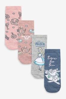 Blue Alice In Wonderland Trainer Socks 4 Pack