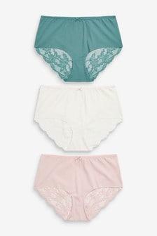 Green/Pink/Cream Midi No VPL Lace Back Briefs 3 Pack