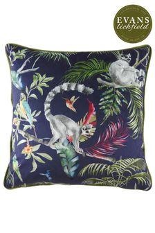 Evans Lichfield Blue Hand Painted Jungle Lemur Cushion