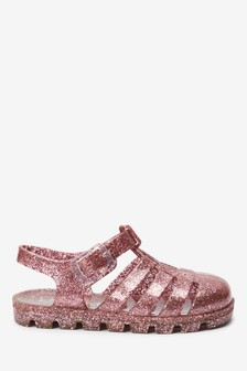 Rose Gold Glitter Jelly Sandals (Younger)
