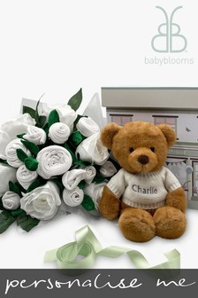 Babyblooms Luxury White Baby Clothes Bouquet And Personalised Charlie Bear Soft Toy