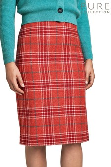 Pure Collection Red Wool Pencil Skirt