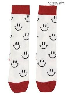 Turtledove London Smiley Black Knee High Socks