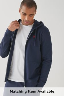Navy Lightweight Zip Through Hoodie