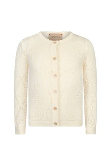 Baby Girls White Cotton Cardigan