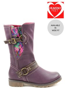 Heavenly Feet Purple Ladies Mid-Calf Boots