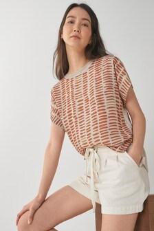 Tan Print Crew Neck Split Sleeve T-Shirt