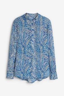 Blue Paisley Longline Shirt