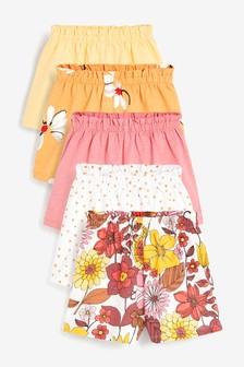 Orange Floral 5 Pack Shorts (3mths-7yrs)