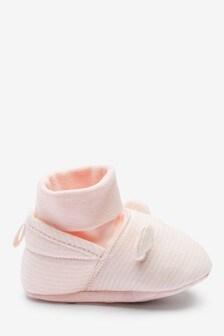 Pink Cotton Rich Bear Pram Booties (0-18mths)