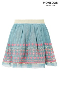 Monsoon Blue Teal Disco Embroidered Skirt