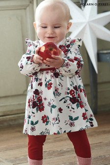 Polarn O Pyret Cream Gots Organic Floral Dress