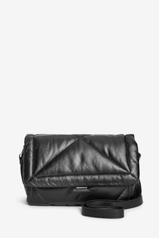 Black Quilted Across Body Bag