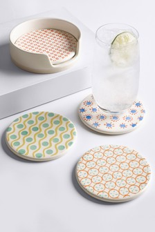 Set of 4 Callie Hand Painted Coasters In Holder