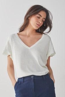 Ecru Ruffle Sleeve T-Shirt