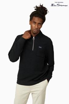 Ben Sherman Black Fabric Interest Zip Neck Sweatshirt