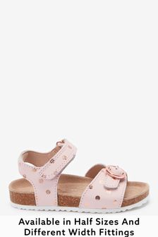 Pink Leather Wide Fit (G) Buckle Sandals (Younger)