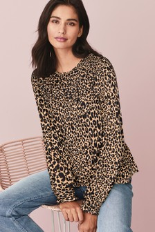 Animal Print Smocked Long Sleeve Top