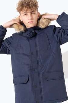 Hype. Navy Scribble Kids Parka Jacket