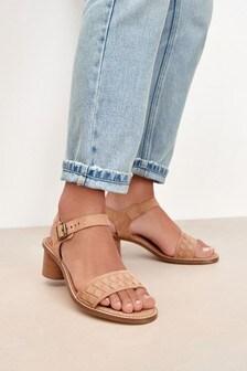 Camel Leather Weave Block Sandals