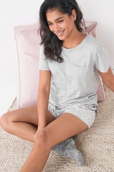 Grey Spot Cotton Blend Pyjamas