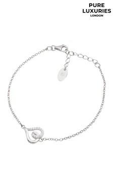 PureLuxuries London Delphine Sterling Silver Heart Bracelet