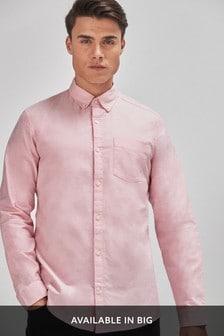 Pink Slim Fit Long Sleeve Oxford Shirt