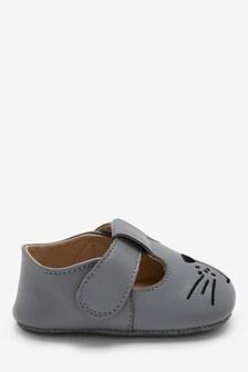 Grey Leather T-Bar Pram Shoes (0-24mths)