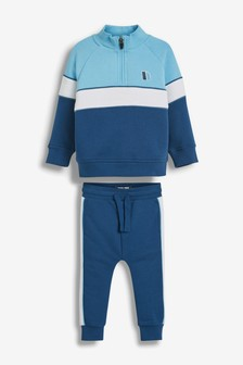 Blue Funnel Neck Crew And Joggers Set (3mths-7yrs)