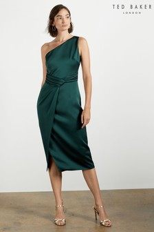 Ted Baker Green Zaaraa One Shoulder Fold Detail Dress