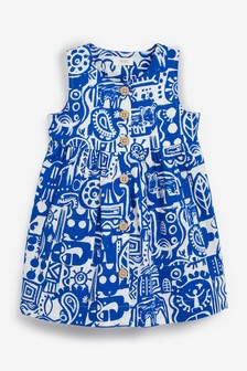 Cobalt Printed Organic Cotton Dress (3mths-7yrs)