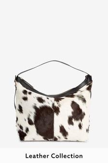 Cow Print Leather Suede Shoulder Bag